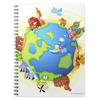 Airplane traveling various famous places of the notebook