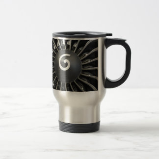 Airplane turbine travel mug