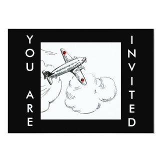 Airplane Vintage Drawing | Aviation Invitation