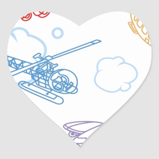 Airplane Wall Heart Stickers