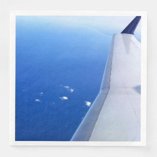 Airplane Wing Flying in Sky Photo Disposable Serviette