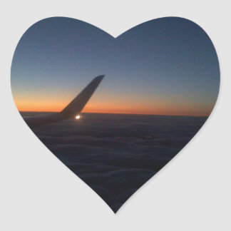 Airplane Wing in the Sunrise Heart Sticker
