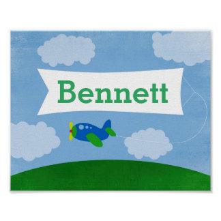 Airplane with Name Banner Poster Wall Art