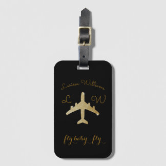 airplane with name & initials, golden travel luggage tag