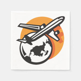 Airplane World Travel Paper Napkins