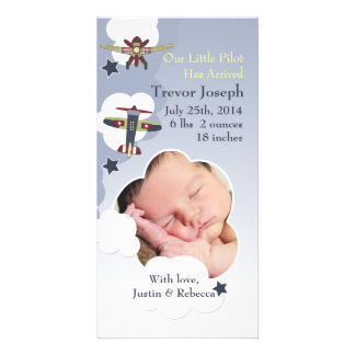 Airplanes and Sky Baby Announcement Photo Greeting Card