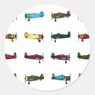 airplanes classic round sticker