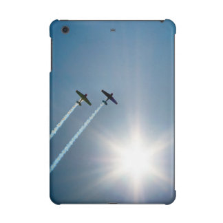 Airplanes Flying on Blue Sky with Sun.