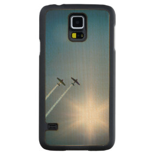 Airplanes Flying on Blue Sky with Sun. Carved Maple Galaxy S5 Case