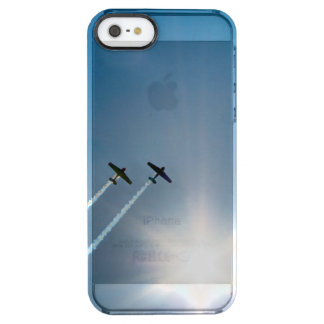 Airplanes Flying on Blue Sky with Sun. Clear iPhone SE/5/5s Case