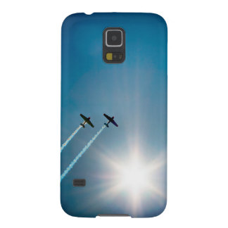 Airplanes Flying on Blue Sky with Sun. Galaxy S5 Covers