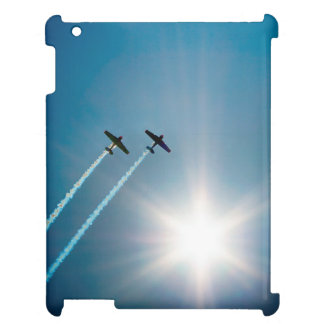 Airplanes Flying on Blue Sky with Sun. iPad Covers