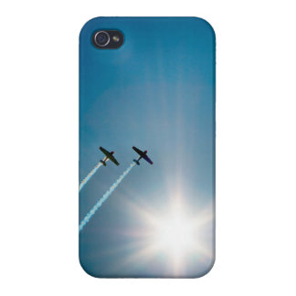 Airplanes Flying on Blue Sky with Sun. iPhone 4/4S Cover