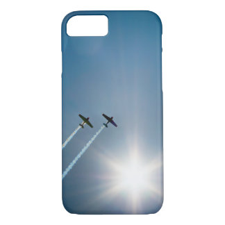 Airplanes Flying on Blue Sky with Sun. iPhone 7 Case