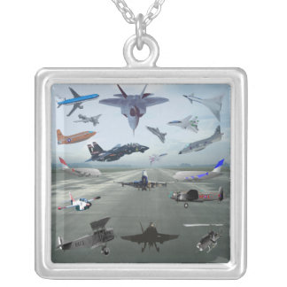 AIRPLANES ON A CAROLINA BLUE SKY SILVER PLATED NECKLACE