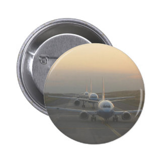 Airplanes on a Runway 6 Cm Round Badge