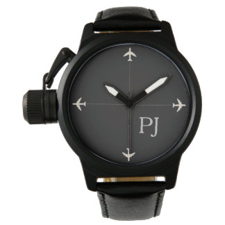 airplanes with initials, stylish black watch