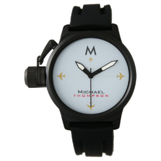 airplanes with name & initial, aero style watch