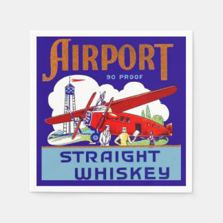 Airport Airplane Pilot Fly Trip Vintage Whiskey Ad Paper Serviettes