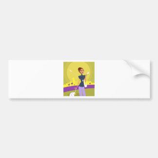 Airport woman gold bumper sticker