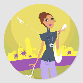 Airport woman gold classic round sticker