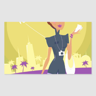 Airport woman gold rectangular sticker