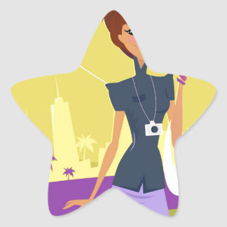 Airport woman gold star sticker