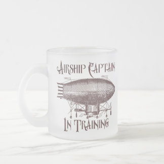 Airship Captain in Training, Steampunk Frosted Glass Coffee Mug