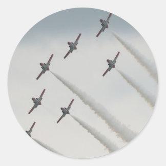 airshow plane composition round sticker