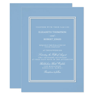 Airy Blue with White Wedding Detail 14 Cm X 19 Cm Invitation Card