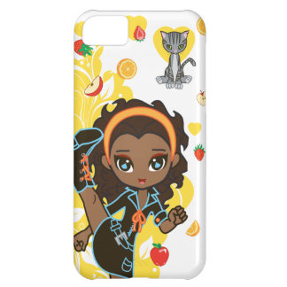 Aisha the African American Kawaii Girl and Cat iPhone 5C Case