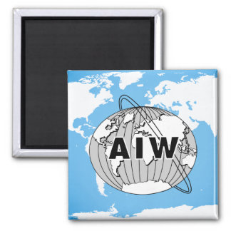 AIW Logo on World Map Square Magnet