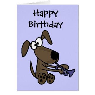 AJ- Funny Puppy Dog Playing Trumpet Cartoon Card