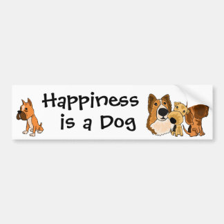 AJ- Happiness is a Dog Bumper Sticker
