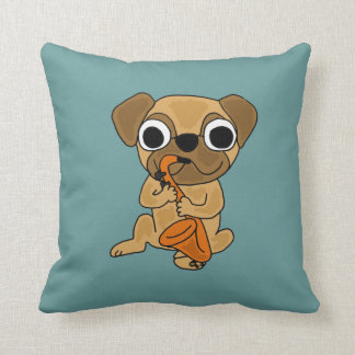 AJ- Pug Playing Saxophone Pillow