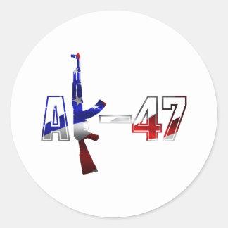 AK-47 AKM Assault Rifle Logo Red White And Blue.pn Classic Round Sticker
