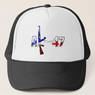 AK-47 AKM Assault Rifle Logo Red White And Blue.pn Trucker Hat