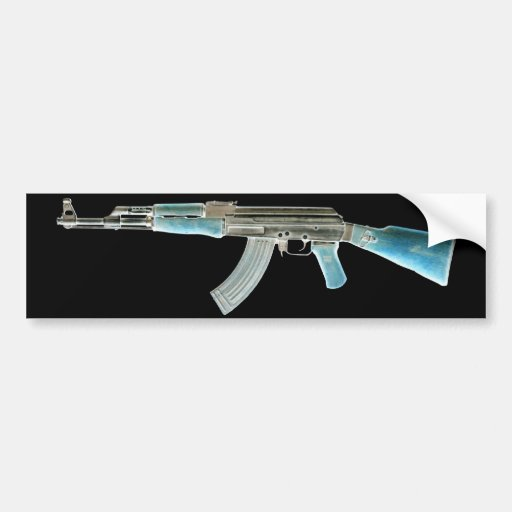 AK-47 Negative Blue Bumper Sticker