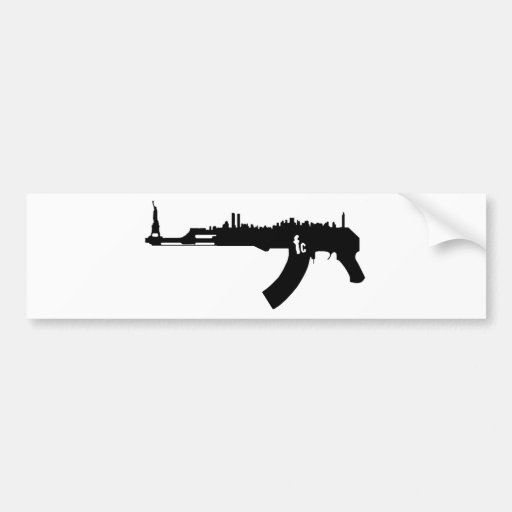 AK 47 NY Skyline Bumper Sticker