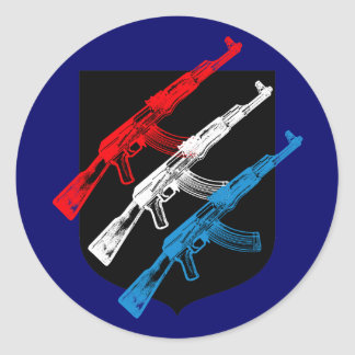 AK 47, Red, White and Blue Classic Round Sticker