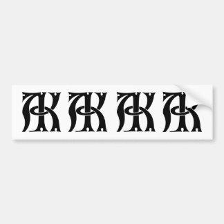 AK Monogram Bumper Sticker