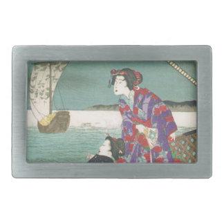 Akashi Moon: Harima Province by Toyohara Chikanobu Belt Buckles