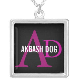 Akbash Dog Breed Monogram Square Pendant Necklace