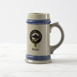 Akins Clan Crest & Coat of Arms Ceramic Stein