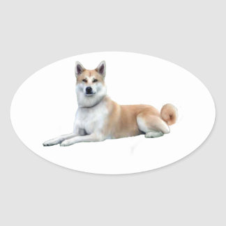 Akita (Akita Inu) - Lying Down Oval Sticker
