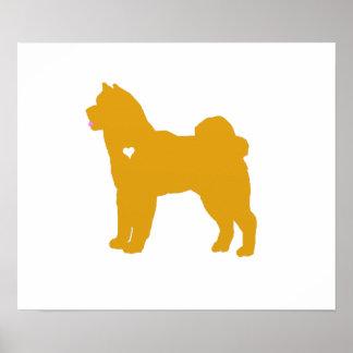 akita colorful pop dog art heart silhouette poster