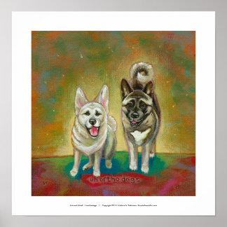 Akita dog art happy dogs fun painting Unorthodogs Poster