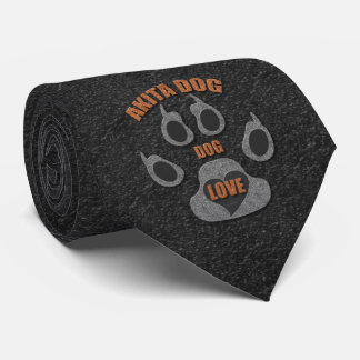 Akita Dog Breed Necktie in Gray and Brown