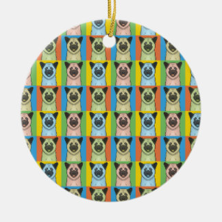 Akita Dog Cartoon Pop-Art Ceramic Ornament