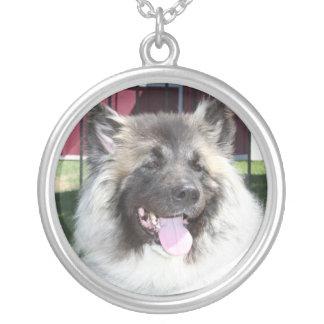 Akita dog round pendant necklace